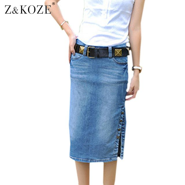 Z&KOZE Hot Korean Style Slim Waisted Denim Jeans Skirt Women Tight Button Denim Skirts Designs Elegant Roupa Feminina