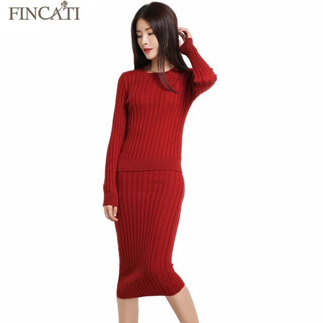 Women's 2017 Autumn Winter Cashmere Fluffy Blend Hollow Out Strip Knitting Sweater+Long Skirt Two Pieces Sets Streched Clothing