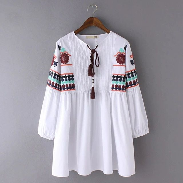 Autumn Vintage Ethnic Embroidered Blouse Fashion Drawstring Round Neck Long Sleeve White Women Tops  ABN4015