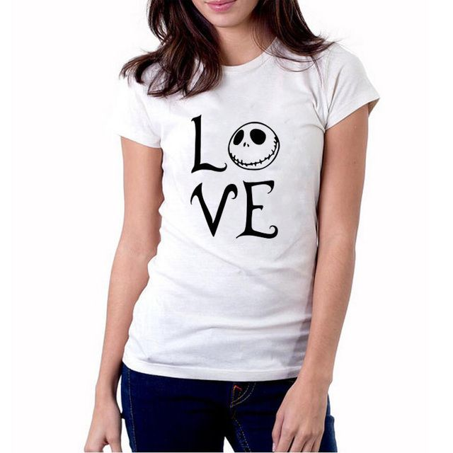Halloween and Christmas T-Shirt Women Funny Love Jack Skellington T shirt Nightmare Before Christmas Tee Shirt Femme