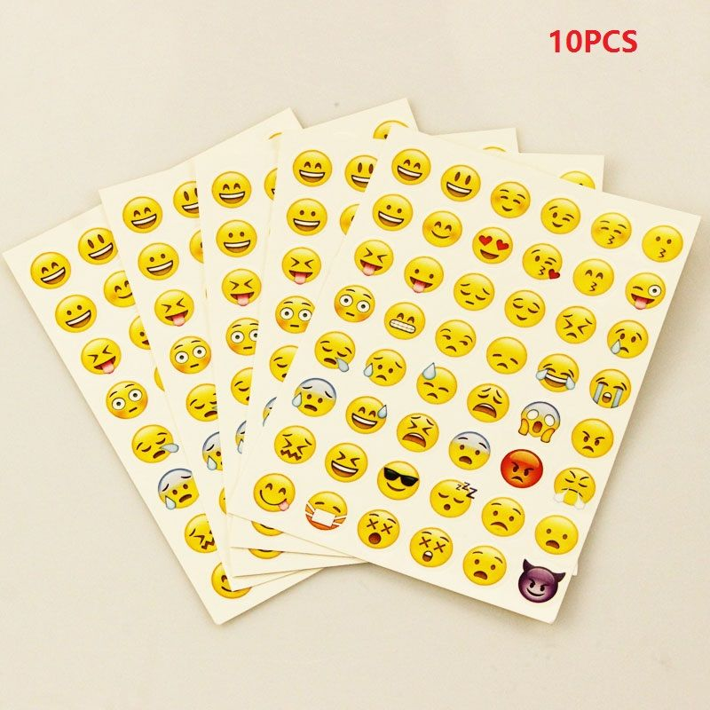 10 Pcs sticker 480 classic Emoji Smile face stickers for notebook albums message Twitter Large Viny Instagram Classical toys