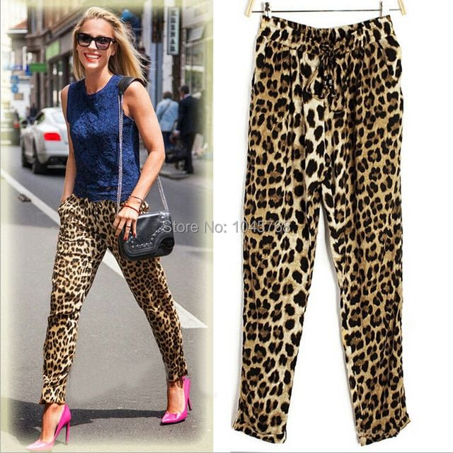 Fashion Casual Loose Fit Leopard Print Women Tropical Harem Pants Lady 2017 Summer Trousers Plus Size 05-030