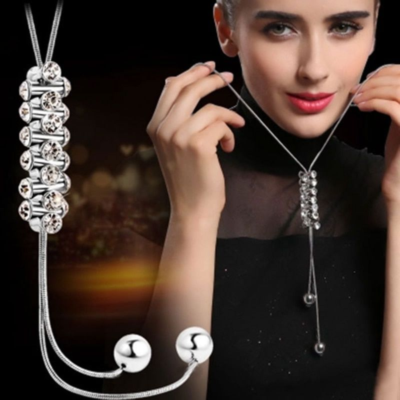 BYSPT Trendy Statement Crystal Long Necklace Women 2017 New Silver Color Jewelry Bijoux Necklaces & Pendants