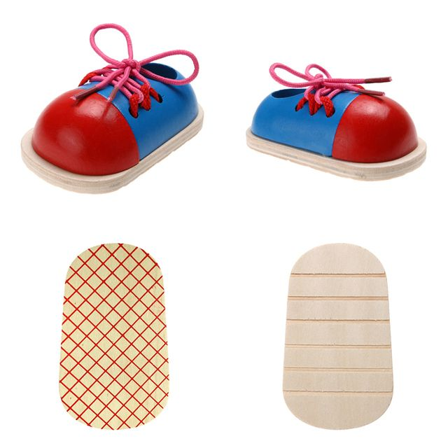 1pc Kids Montessori Educational Toys Children Wooden Toys Toddler Kids Lacing Shoes Early Learning Toy Montessori Teaching Aids