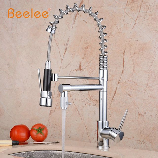Beelee Wholesale And Retail Promotion Luxury Chrome Brass Spring Kitchen Faucet Single Handle Hole Vessel Sink Mixer Tap BL0783