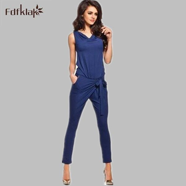Fashion plus size jumpsuit romper woman overalls long rompers womens jumpsuit combinaison femme bodysuit playsuit 2016 Q1010