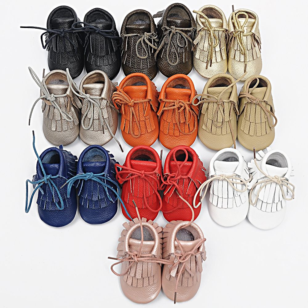 100% Genuine Leather Baby Moccasins hand-made lace-up Baby Shoes Tassel First Walkers Chaussure Bebe newborn shoes