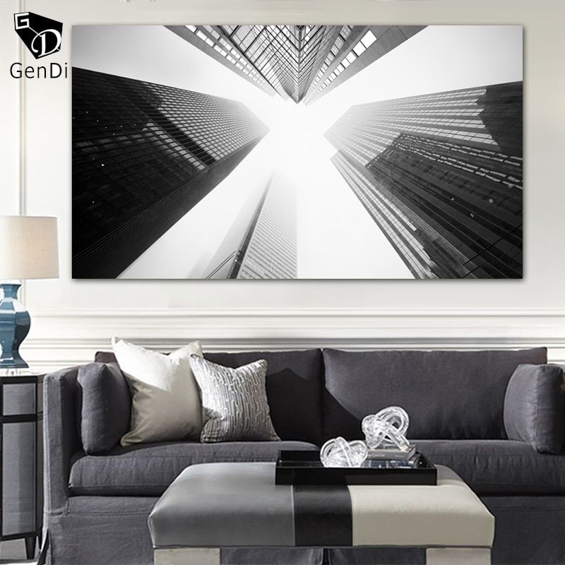 GenDi Toronto Skyscrapers Black And White Wall Art Painting Modern City Buildings Print Canvas Paintings Paintings Home Decor