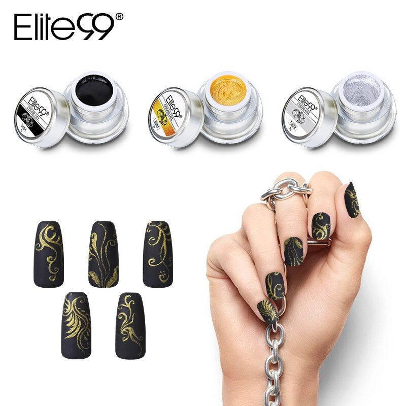 Elite99 12 Colors Acrylic Paint Gel 3D Nail Art Paint Color Gel Draw Painting Acrylic Color UV Gel Tip DIY Nail Art