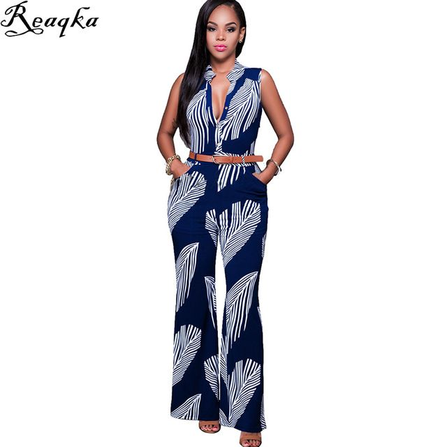 Fashion Long Jumpsuits For Women Print Rompers Womens sexy Bodysuit 2016 New Arrivals Summer Overalls Playsuits Macacao