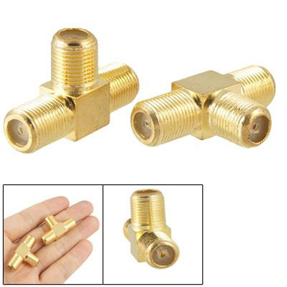 WSFS Hot Sale 2pcs F Female to Two F female Jack Triple T RF Adapter Connector 3 Way Splitter