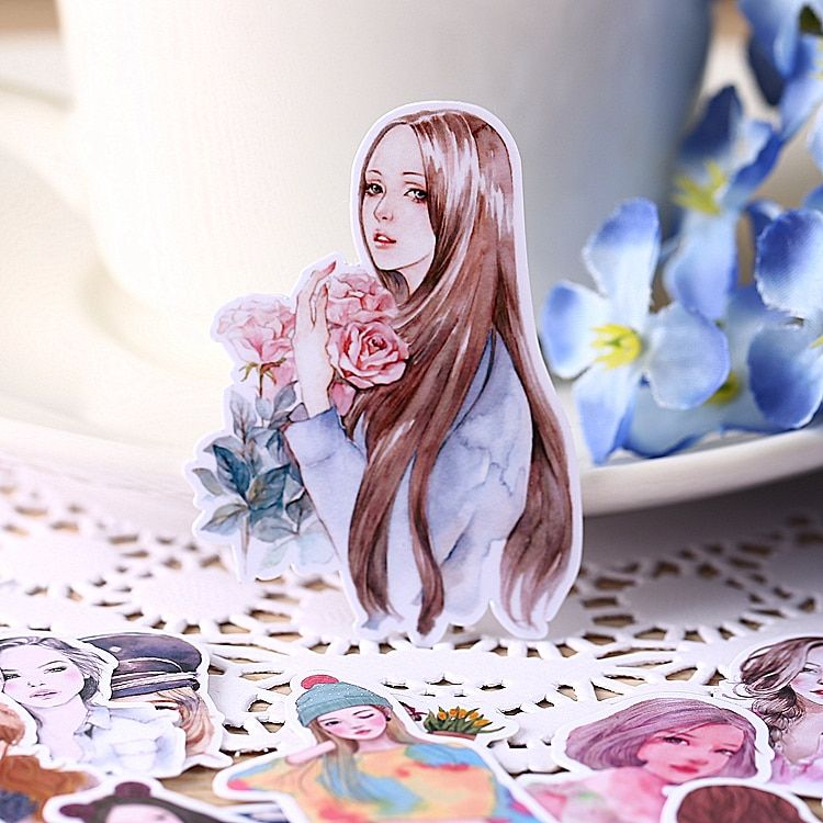 31pcs Self-made Beautiful Girl Women Chacrater Scrapbooking Stickers DIY Craft DIY Sticker Pakc Photo Albums Deco Diary Deco