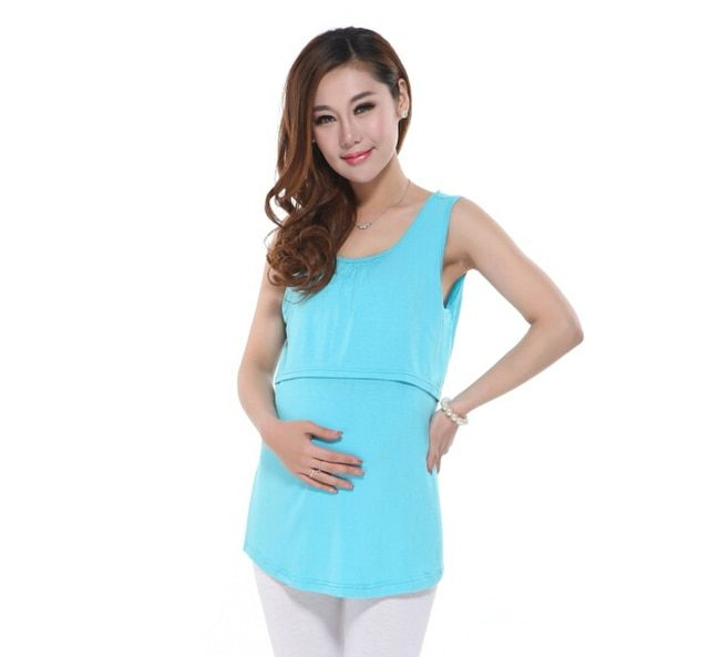 Modal Breast Feeding Nursing Clothes Solid Color Sleeveless T-shirt T Shirts for Pregnant Women Big Size Funny Maternity Shirts