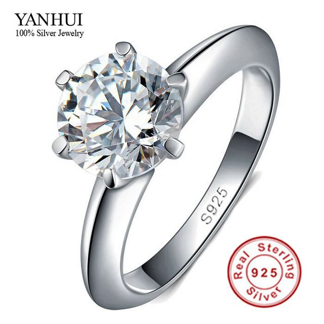 Big Promotion 100% Solid Silver Ring Set 1 Carat Sona CZ Diamond Engagement Ring Real 925 Sterling Silver Rings For Women JZR121