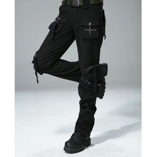 Women Casual Cargo Pants Women's Straight Pockets Military Trousers Size 27-31