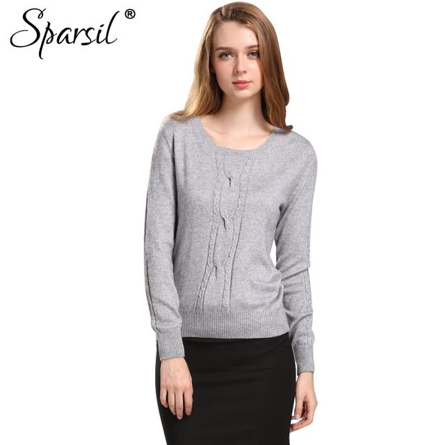 Sparsil Winter Women Cashmere Blend Sweater O-Neck Knitted Pullover Autumn Fashion Female Twisting Knitwear Long Sleeve Jumper