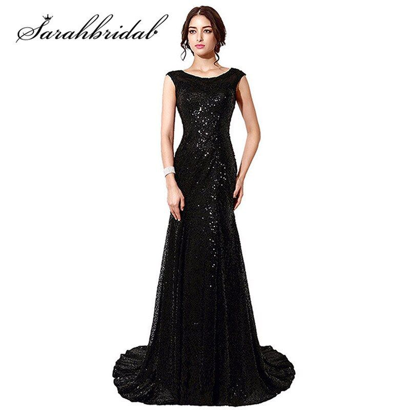 Vintage Lace Mermaid Mother Of The Bride Dresses Vestido De Madrinha Black Sequined Long Women Elegant Evening dresses SD197