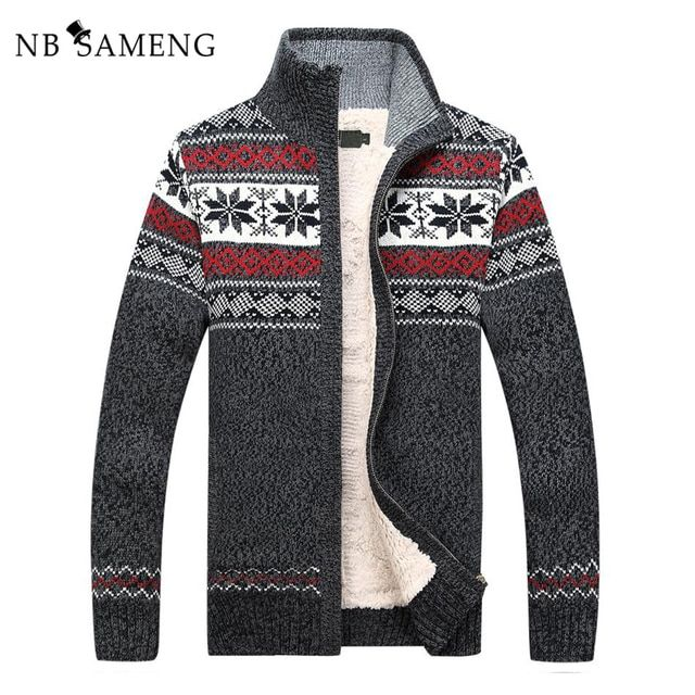 Size S -3XL 100% Cotton 2018 New Thicken Fleece Sweater Men Floral Pattern Cardigan Blusa Masculina Mens Clothing