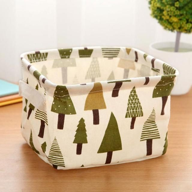 4 Patterns Cute Linen Desk Storage Box Holder Jewelry Cosmetic Stationery Organizer Case