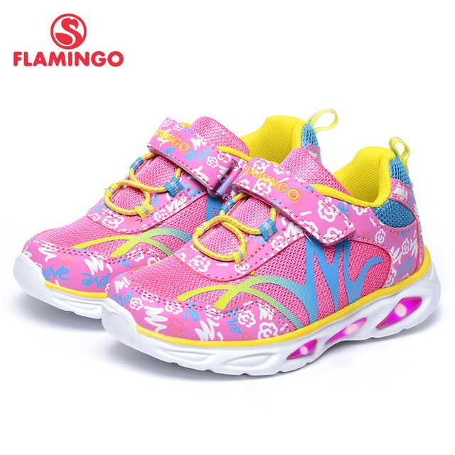 FLAMINGO 2017 New Arrival Gradient color children autumn hook & loop sneakers for girl with LED  71K-BK-0043/71K-BK-0044
