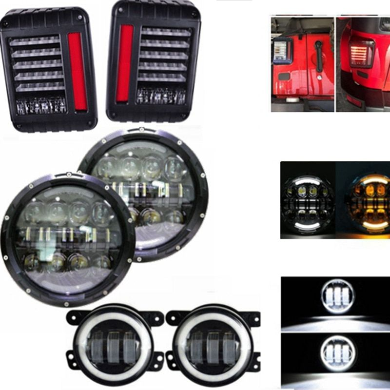 "80W 7Inch Led Headlight 4"" Led Fog Light Tail Light Lamp For Jeep Wrangler JK TJ CJ LJ"