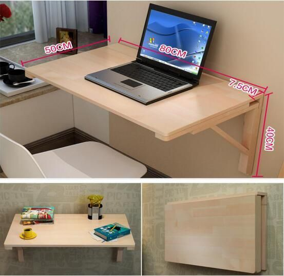 80*50CM Wall-mounted Laptop desk Solid Wood folding office desk multipurpose Learning Table