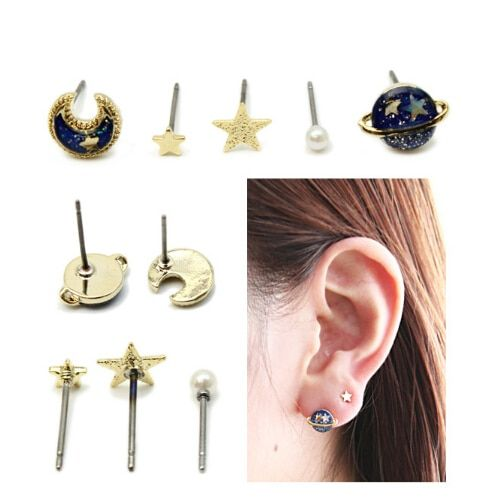 Timlee E212 Popular CuteThe Universe Planet Moon Stars Lovely Personality Fashion Stud Earrings Jewelry HY