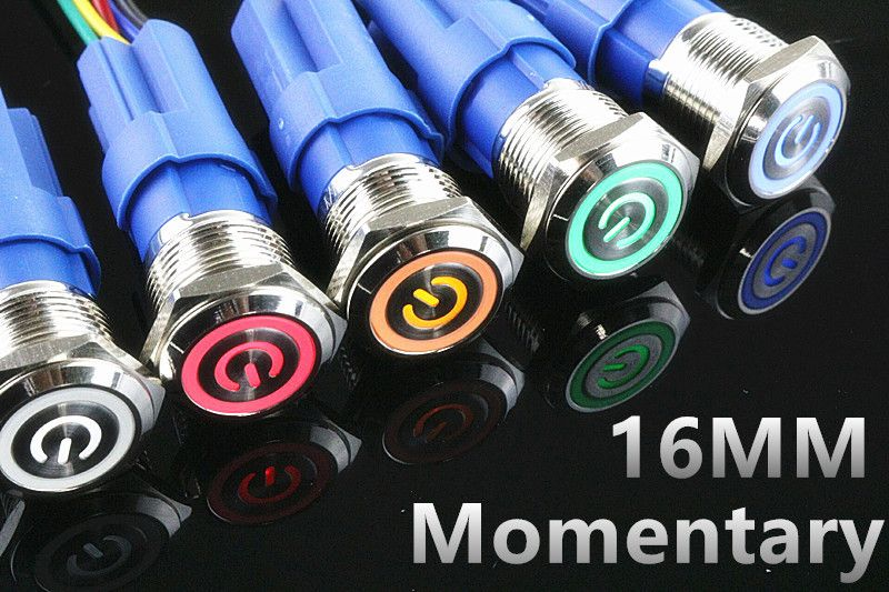 5V 12V 24V 220V Metal push button switch with light 16mm flat head self-reset Momentary Push Button waterproof LED metal switch