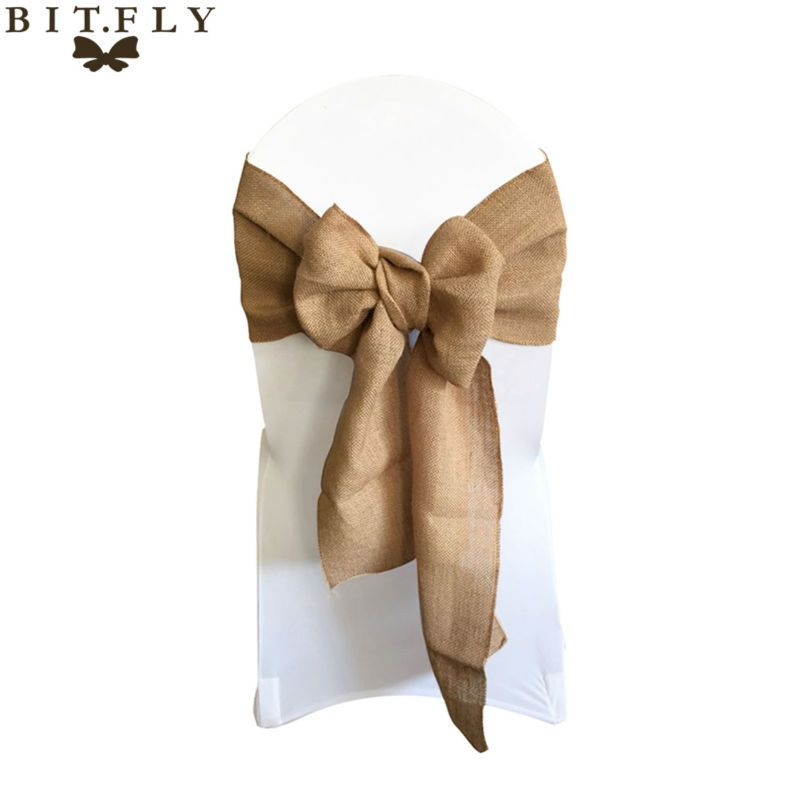 "7""*108"" Naturally Elegant Burlap Chair Sashes Jute Chair Tie Bow for Rustic Wedding Decoration Home Textiles with high quality"