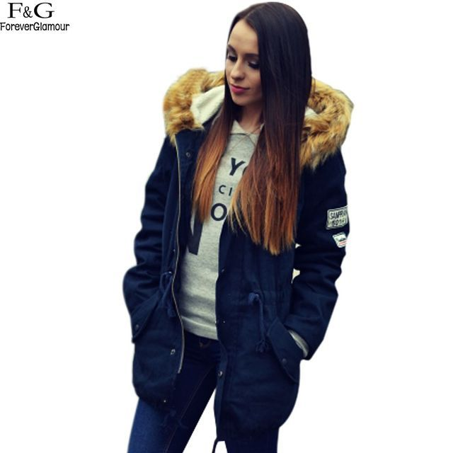 Winter Jacket Women Jackets 2017 Hoodies Faux Fur Collar Thick Cotton Padded Lining Down & Parkas Navy Blue Drop Ship Coats