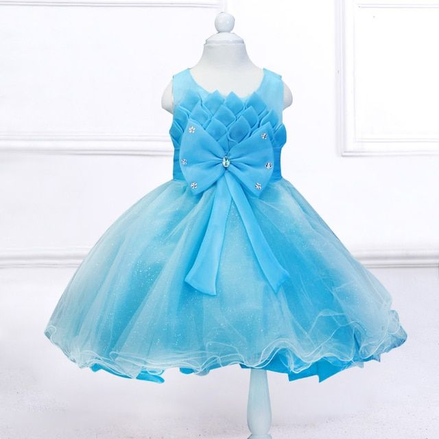 Retail 2017 Lotus Pleat Flower Girls Dresses Bow Belt First Communion Dresses For Little Girls Baby Princes Dresses  L608