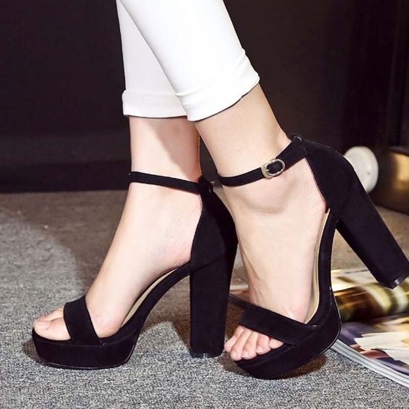 2018 new fashion women gladiator thick high heels sandals ladies genuine leather suede roman summer buckle platform pumps shoes