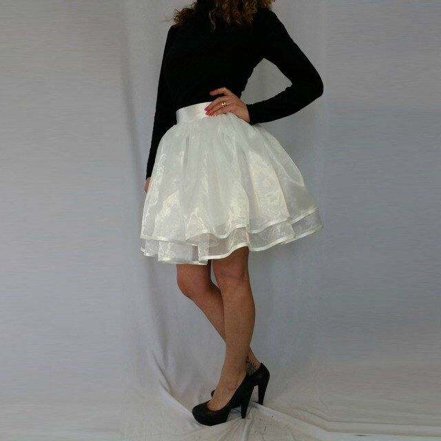 White Puffy Organza Skirt Custom Made Zipper Ribbon Waistline A Line Knee Length Tutu Skirt Bright Tulle Skirts Women