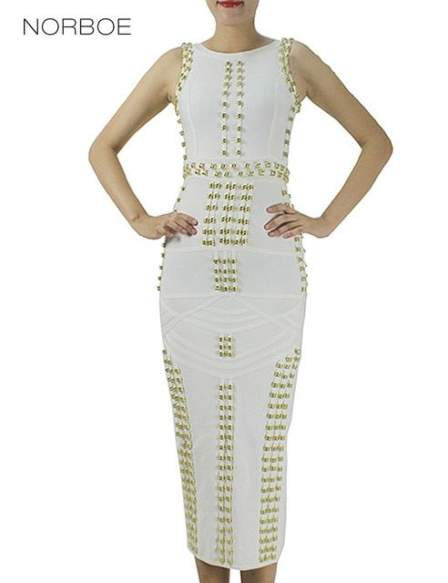 NORBOE High Quality Elegant Women Dresses Plus Size Beading Studded Celebrity Women Party Bandage Dresses Vestido De Festa
