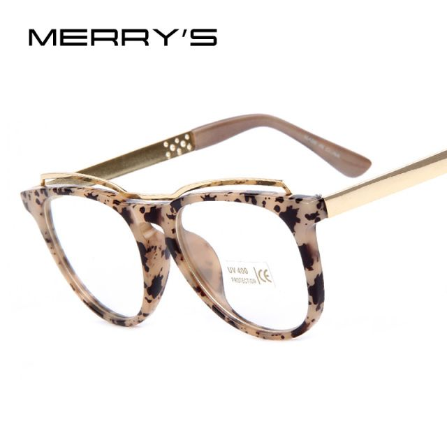 MERRY'S Fashion Women Cat's Eye Glasses Frame Brand Designer Frames Print Frame Women Eyeglasses Frames High quality