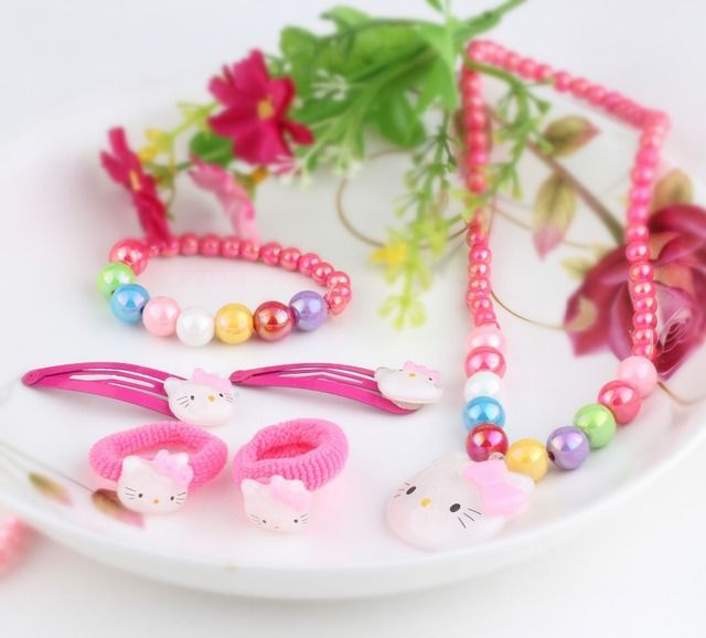 1set=6pcs Children Hair Accessories Necklace Bracelets headband hair clip Hairpins Baby Girls Fashion Jewelry Hairpins