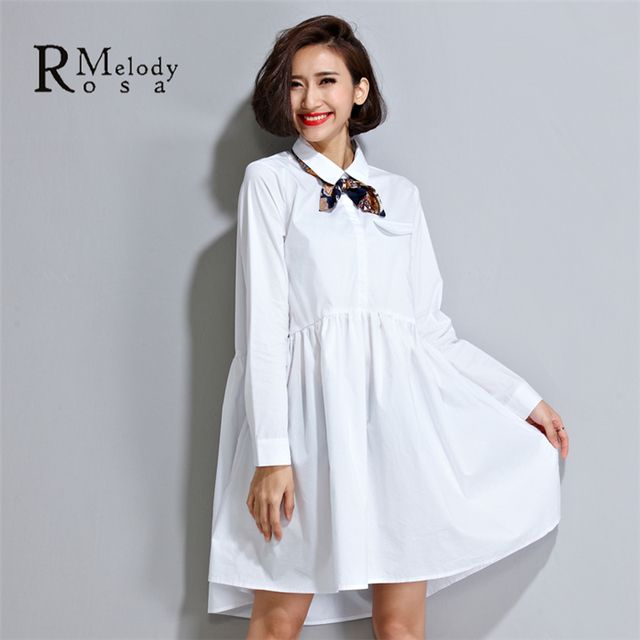 Casual Women White Blouse Basic School Style Loose Pure Color Turn-Down Collar Ball Gown Blouse with Scarf(R.Melody HS0017)