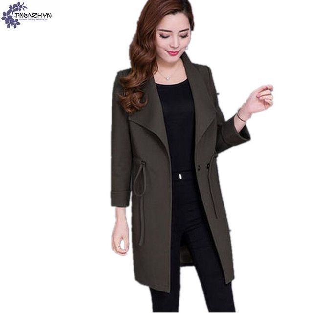 TNLNZHYN Korea 2017 Spring New Fashion Loose Women Jacket big yards Long Sleeves Pure color women cloth Windbreaker coat Ct12