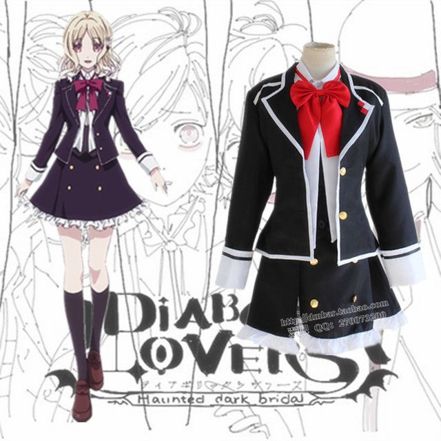 Diabolik Lovers Komori Yui Cosplay Costume School Uniforms Halloween Party Dress((Blazer & Vest & Skirt & Bow)