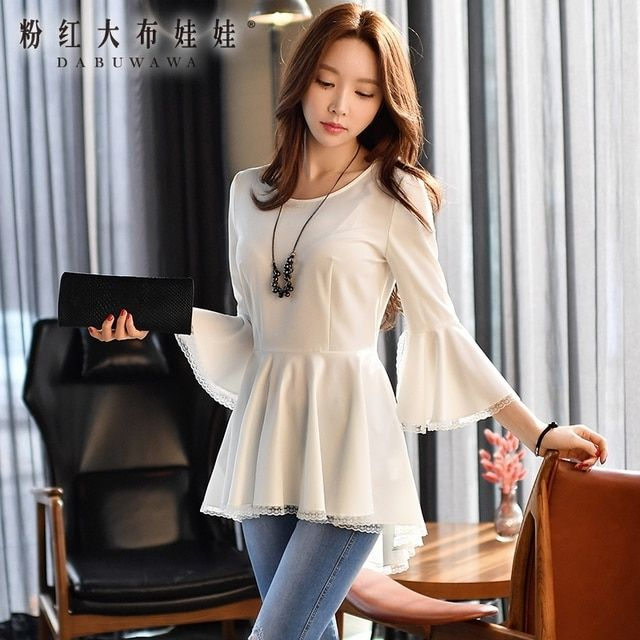 dabuwawa shirt female 2017 spring new korean ruffle hem round neck collar short long blouse women wholesale