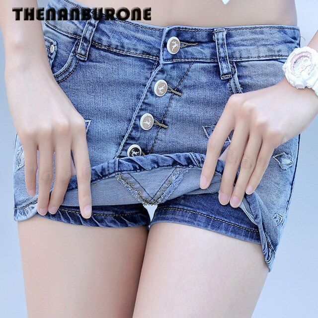 THENANBURONE 2017 Denim Shorts Skirt Women Summer Style Hot Jeans Short Pant Women Sexy Slim Hip Blue Fashion Short Femme XXXL