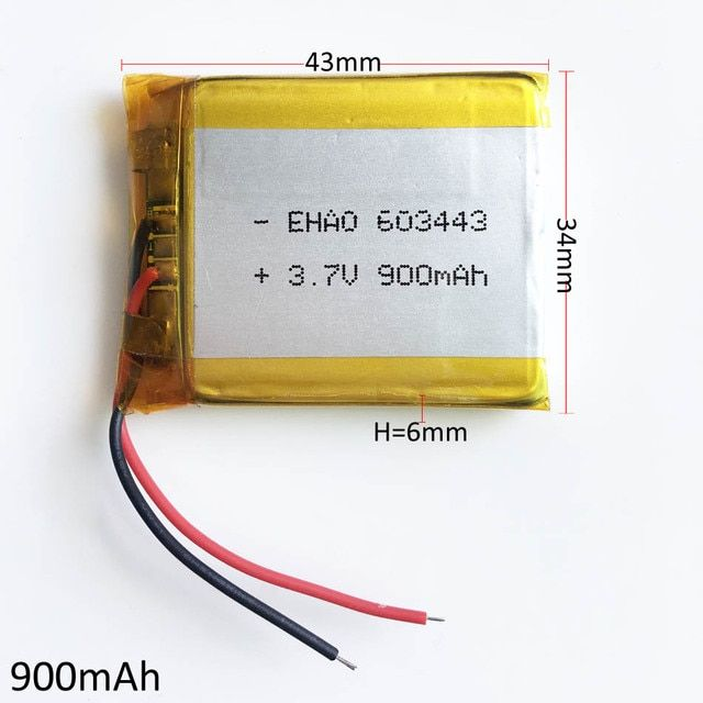3.7V 900mAh battery 603443 Lithium Polymer Li-Po ion PLIB Rechargeable Battery For Mp3 MP4 MP5 GPS PSP mobile electronic part