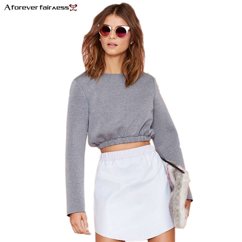 A Forever 2018 Spring Women Crop Tops Long Sleeve Pullover Sweatshirt Cotton Casual Short Blusa moleton Female Sweatshirt AFF393