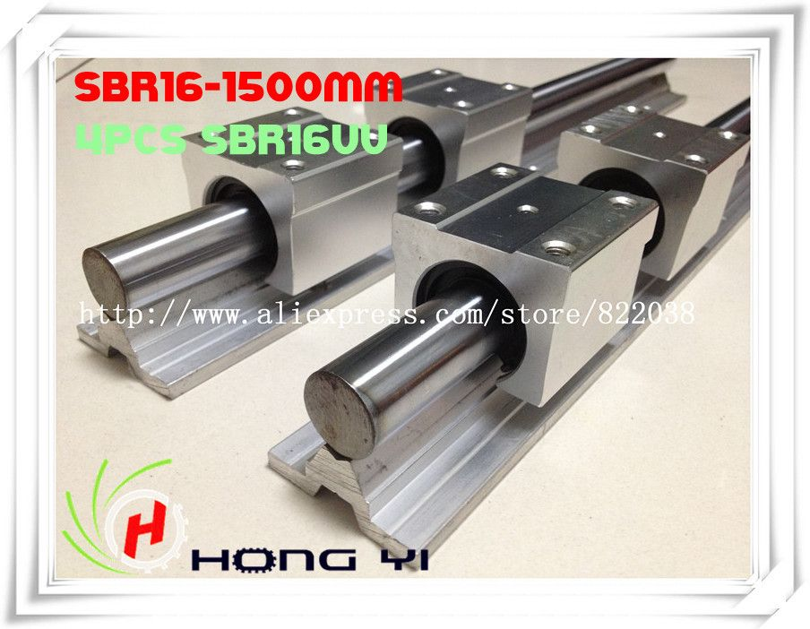 2 X SBR16 L = 1500mm linear bearing supported rails +4 pcs SBR16UU Linear Guides bearing blocks for CNC