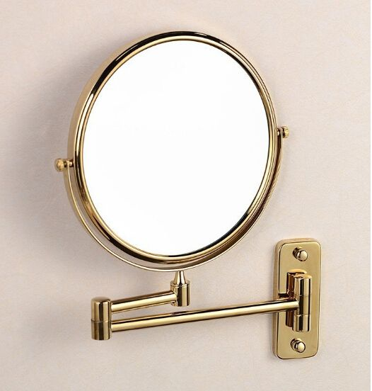 Hot Sale Bathroom Gold-plating Wall Mounted 8 inch Brass 3X/1X Magnifying Mirror Folding Makeup Mirror Cosmetic Mirror Lady Gift