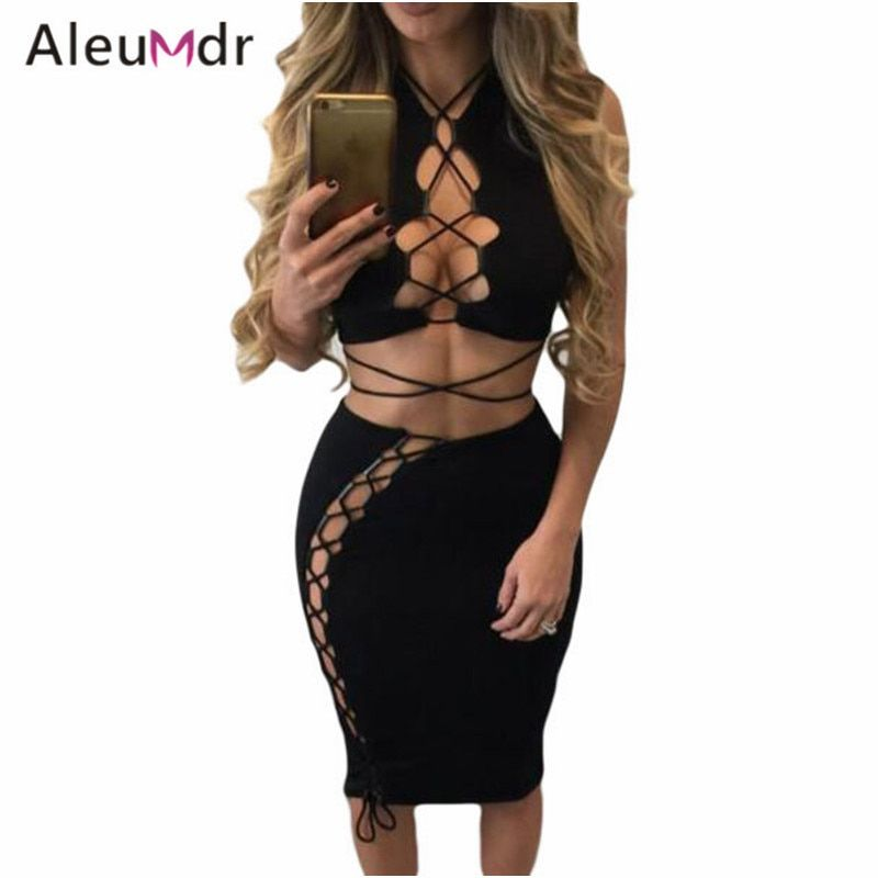 Aleumdr 2017 Clothes Set Women Black Daring Sexy Lace Up Cut Out Club Crop Top And Mini Skirt Sets LC63020 Ensemble Jupe Et Top
