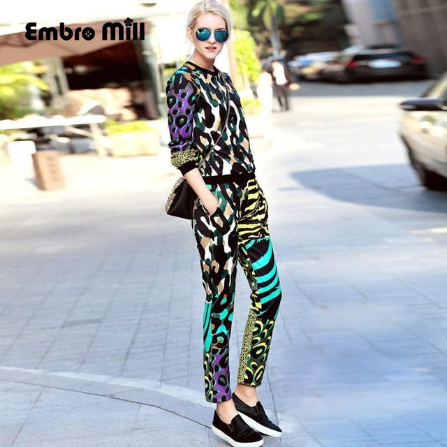 Leopard print women set 2017 spring new American European fashion runway luxury colours Hoodie top + pencil pants suit female