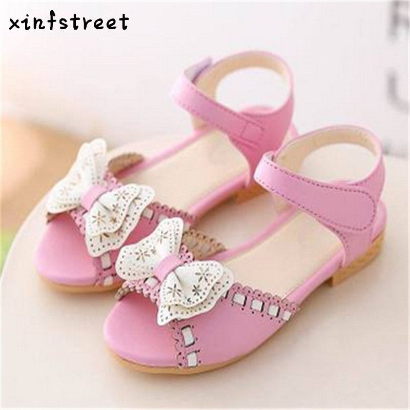 Girls Sandals Summer Children PU Leather Soft Princess Sandals Peep-toe Designer Bow Shoes For Girls Size 21-36
