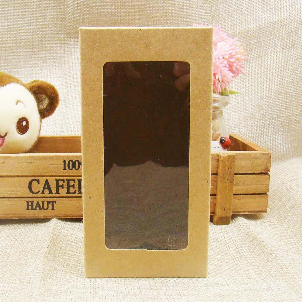 7*7*14cm Popular kraft paper window boxes packaging, Retail Package gift boxeswith clear pvc window For candy /wedding favor