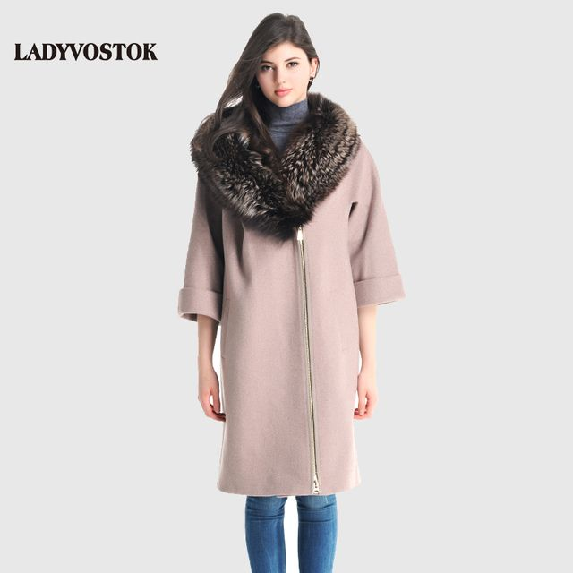 LADYVOSTOK 2016 New Autumn Winter Wool Long Woman Coat fur coat With Fur Collar Zipper Loose Bat Sleeve Female Overcoat R1965